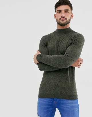 Asos Design DESIGN cotton turtle neck jumper in khaki twist