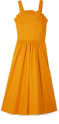 Sea Sunrise Lace-up Ruffled Cotton-blend Midi Dress - Orange