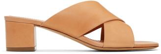 Mansur Gavriel Tan Crossover Sandals $475 thestylecure.com