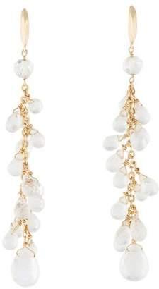 14K Moonstone Cluster Drop Earrings