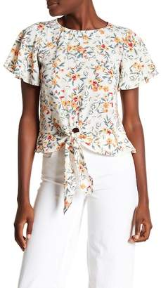 June & Hudson Printed Tie Front Blouse