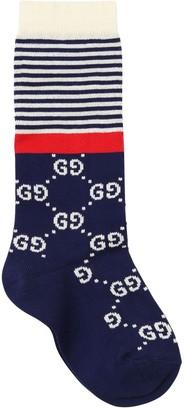 Gucci Gg Supreme Jacquard Knit Cotton Socks