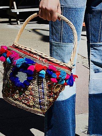 Embellished Straw Basket by Free People