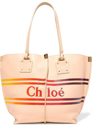 Chloé Vick Printed Textured-leather Tote