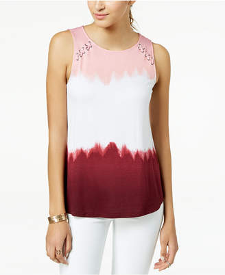 Juniors' Lace-Up Tie-Dyed Tank Top