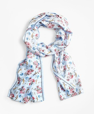 Brooks Brothers Floral-Print Silk-Blend Scarf
