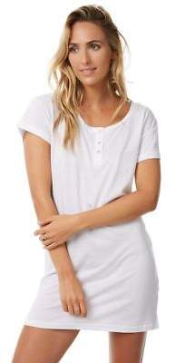 New Tee Ink Women's Vaycay Button Up Tee Dress White