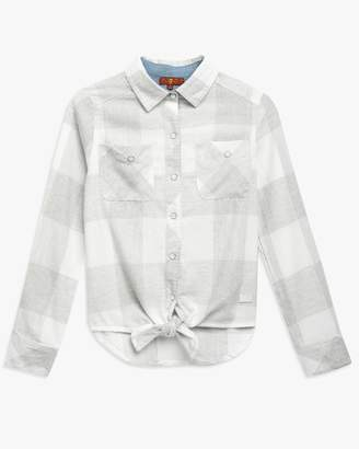 7 For All Mankind Tie Front Shirt in Grey Plaid
