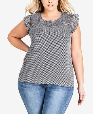 City Chic Trendy Plus Size Gingham-Print Flutter-Sleeve Top
