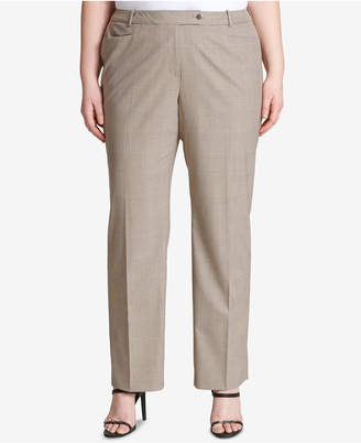 Calvin Klein Plus Size Straight-Leg Plaid Pants