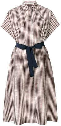 Mantu vichy print tie waist shirt dress