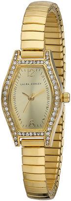 Laura Ashley Womens Gold Expandable Bracelet Watch La31010Yg $345 thestylecure.com