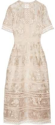 Zimmermann Lace-Trimmed Embroidered Silk-Organza Midi Dress