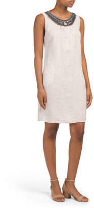 Made In Italy Linen Beaded Trim Dress
