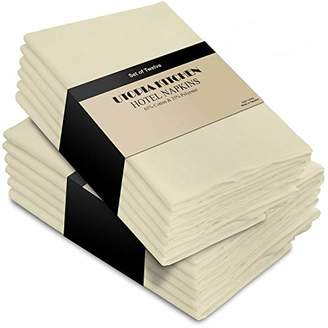 Utopia Bedding Utopia Kitchen Cotton Dinner Napkins - Ivory - 12 Pack (18 inches x 18 inches) - Soft and Comfortable - Durable Hotel Quality - Ideal for Events and Regular Home Use