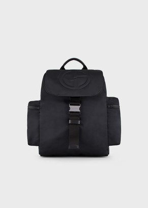 Giorgio Armani Backpack With Embossed Logo And Side Pockets