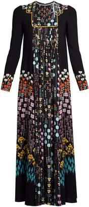 Floral-print ruffled-neck crepe dress