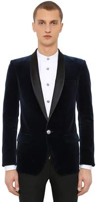 Balmain Cotton Velvet Jacket W/ Satin Lapels