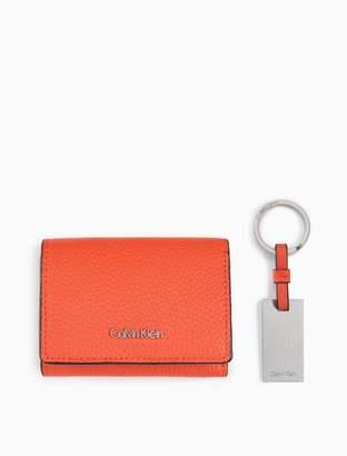 Calvin Klein logo flap small wallet + key ring gift box