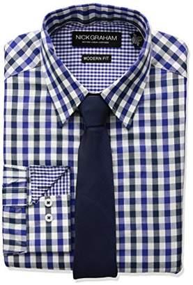 Nick Graham Men's Long Multi Gingham Dress Shirt with Solid Tie Set