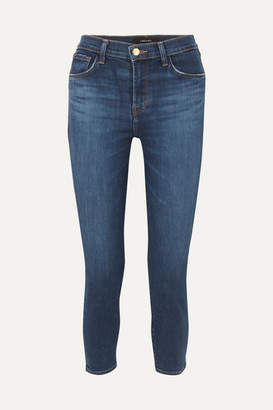 J Brand Ruby Cropped High-rise Slim-leg Jeans - Dark denim