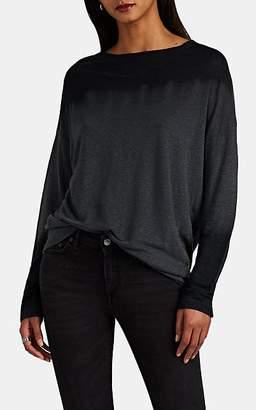 Pas De Calais Women's Tie-Dyed Slub Fine-Gauge Linen Long-Sleeve T-Shirt - Gray