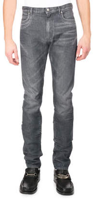 Maison Margiela Faded Denim Straight-Leg Jeans, Gray