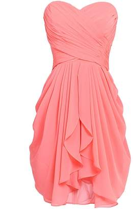 VaniaDress Women Sweetheart Ruffles Short Bridesmaid Dress Prom Gowns V201LF US
