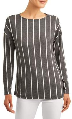 Como Blu Women's Vertical Stripe Soft Boatneck Top