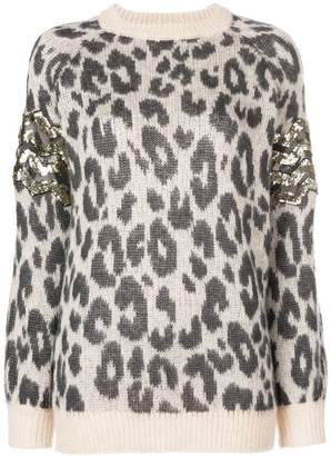 Aniye By leopard print oversized sweater