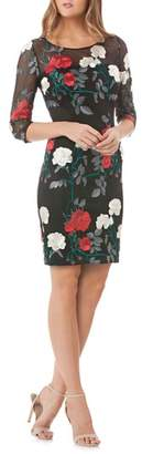 Carmen Marc Valvo Embroidered Floral Sheath Dress