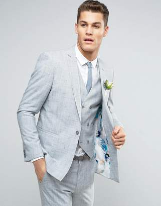 Asos Design Wedding Skinny Suit Jacket in Crosshatch Nep With Floral Print Lining