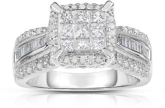 MODERN BRIDE 1 CT. T.W. Diamond 10K White Gold Princess-Cut Multi-Top Ring