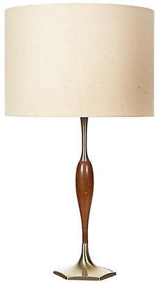 One Kings Lane Vintage 1960s Gilt Metal & Walnut Wood Lamp - 2-b-Modern