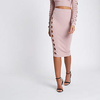 River Island Womens Light Pink cut out studded pencil skirt