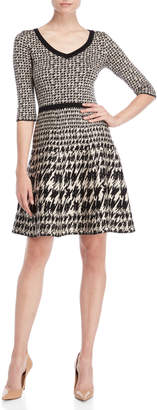 Taylor Houndstooth Fit & Flare Sweater Dress