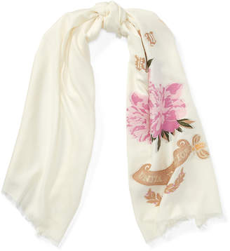 Bally Crest Jacquard Scarf Pink, Womens silk and wool blend scarf in petal Bally