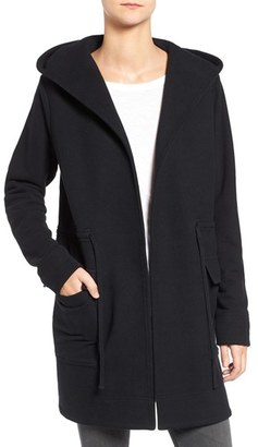 Women's James Perse Hooded Brushed Fleece Open Front Coat $395 thestylecure.com