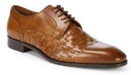 Woven Leather Blucher Dress Shoes