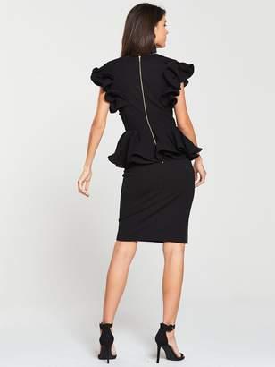 Very Peplum V-neck Occasion Dress - Black