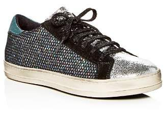 Golden Goose P448 Women's John Glitter Mesh & Suede Lace Up Sneakers