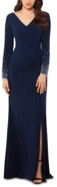 Xscape Evenings Petite Beaded-Sleeve Gown