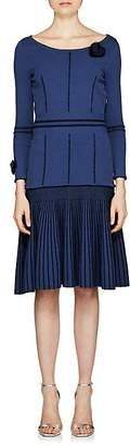 Fendi Women's Fur-Trimmed Knit Fit & Flare Dress
