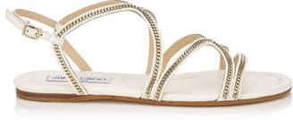 Jimmy Choo NICKEL FLAT Latte Leather Flat Sandals