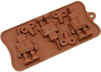 Freshware 6-Cavity Robot and Key Silicone Mold for Chocolate, Candy and Gummy, CB-606BR