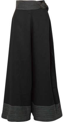 Paper London Salina Belted Linen Wide-leg Pants - Black