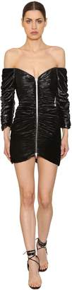 Laquan Smith Zip-Up Shiny Stretch Velvet Mini Dress