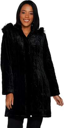 Isaac Mizrahi Live! Velvet Puffer Coat with Faux Fur Trimmed Hood