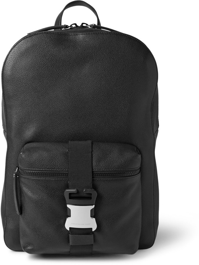 Christopher Kane Safety Buckle Textured-Leather Backpack