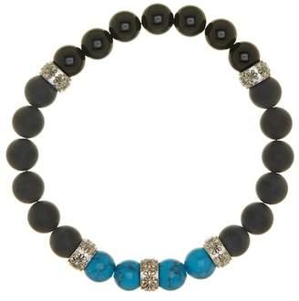Blue Nile Jean Claude Matte Black Agate, Black Obsidian & Dip Labradorite Beaded Stretch Bracelet